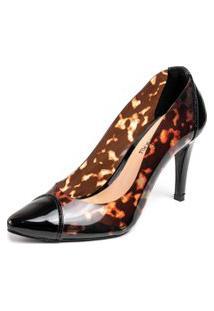 Sapato Scarpin Salto Alto Fino Em Verniz Preto Com Cristal Onça