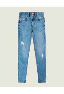 Calça Skinny Jeans Com Puídos Feminina Malwee Azul Claro - 48
