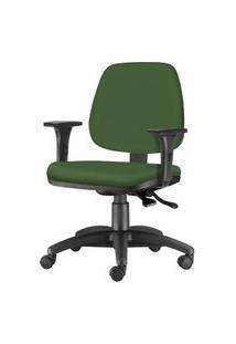Cadeira Job Com Bracos Assento Crepe Verde Base Nylon Arcada - 54613 Verde