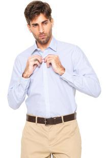 Camisa Lacoste Regular Fit Listrada Branca/Azul