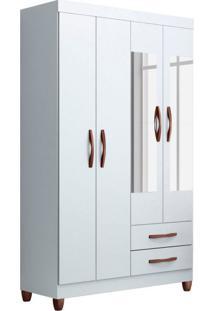 Guarda-Roupa Solteiro Flex Color Com Espelho Ambar 4 Pt 2 Gv Branco