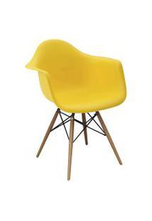 Cadeira Eiffel C/Braço Pp Amarelo Base Madeira Rivatti