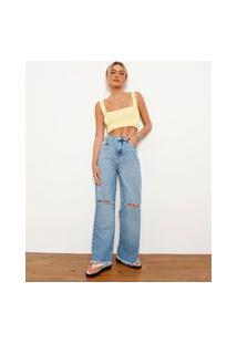Calça Wide Reta Jeans Com Bordado E Rasgos Cintura Super Alta Destroyed Bff Azul Claro