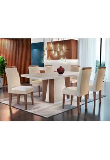 Conjunto De Mesa De Jantar Valença Com Vidro E 6 Cadeiras Athenas Veludo Creme E Off White