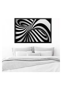 Quadro Love Decor Com Moldura Abstrato 3D Preto Grande