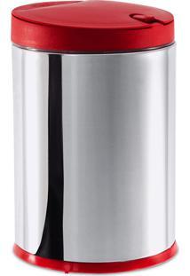 Lixeira Press Aço Inox Vermelha 17X25Cm 4L Brinox 3050/212
