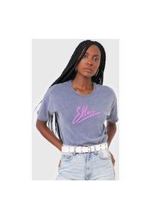 Camiseta Ellus Estonada Logo Cinza