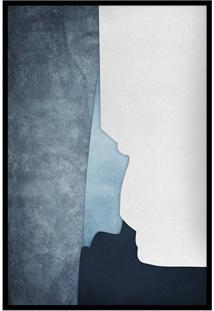 Quadro 60X40Cm Abstrato Geométrico Oriental Ireki Moldura Preta Com Vidro