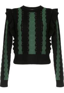Self-Portrait Frill-Trim Striped Sweater - Preto