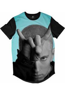 Camiseta Bsc Longline Eminem Sublimada Preta Azul