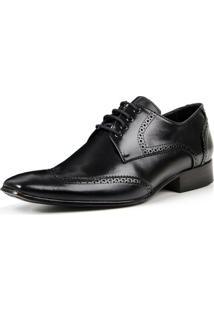 Sapato Social Bigioni De Amarrar Estilo Oxford Clássico Masculino - Masculino-Preto
