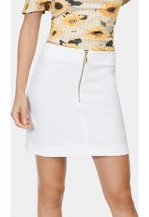 99c6927609 ... Saia Lisa Cintura Alta Tecido Branco Off White - Lez A Lez
