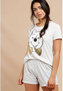 Pijama Feminino Estampa Pooh Manga Curta Disney