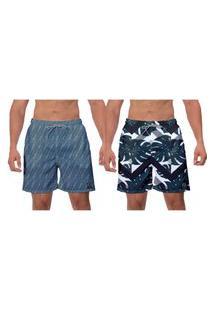 Kit 2 Shorts Moda Praia Folhas Verdes Escuras Estampado E Azul Petróleo Caminhada Moda Masculina Banho W2