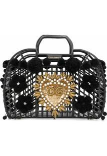 Dolce & Gabbana Bolsa Tote Gomma + Ricamo - Preto