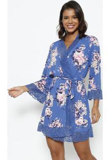 Robe Com Renda- Azul & Rosafruit De La Passion