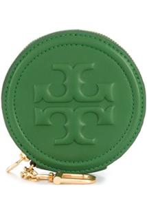 Tory Burch Clutch Com Logo Fleming Gravado - Verde