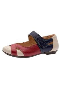 Sapatilha Casual Doctor Shoes 1298 Bege/Vermelho/Marinho