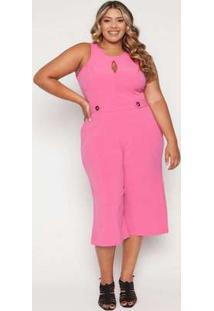 Macacão Almaria Plus Size Quebela Pantacourt Pink Rosa