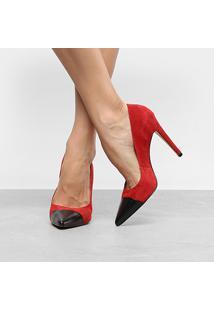 Scarpin Couro Luiza Barcelos Salto Alto Bicolor - Feminino-Vermelho+Preto