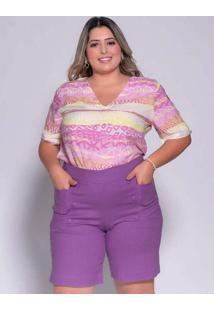 Blusa Estampada Almaria Plus Size Melonica Vazado