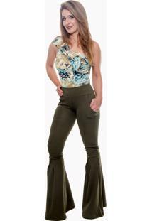 Calça Cintura Alta Mademoiselle Modas Maxi Flare Verde