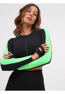 Blusa Cropped Mescla- Preta & Verde Limã£O- Patrapatra