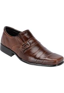 Sapato Social Masculino Couro Detalhes Costura Leoppé - Masculino-Marrom