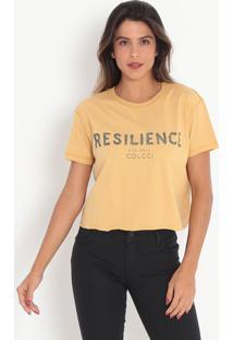 """Camiseta """"Resilience""""- Amarela & Verde Escuro- Colcccolcci"""