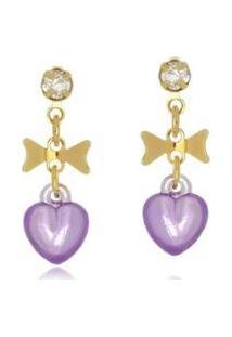 Brinco Le Diamond Laço E Coração Lilás - Feminino-Dourado