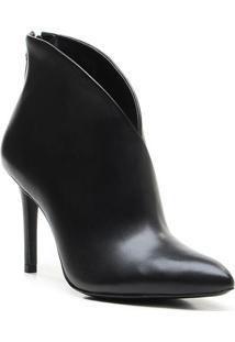 Ankle Boot Em Couro - Preta- Salto: 9,5Cm - Vicevicenza