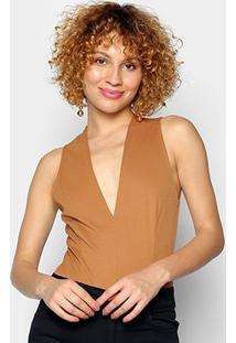 Body Colcci Regata Decote V - Feminino-Amarelo