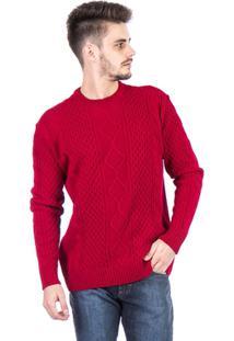 Blusa Tricot Malhas Carlan Decote Redondo Trançada Masculina - Masculino-Vermelho
