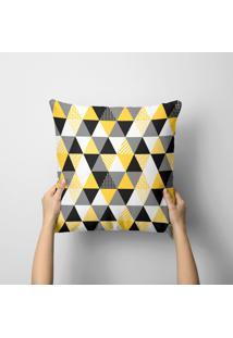 Almofada Avulsa Decorativa Multi Triangulos Amarelos