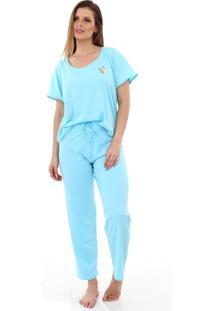 Pijama Algodão Mechler Longo Azul