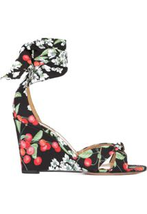 Aquazzura Sandália Anabela 'All Tied Up' Estampada - Preto