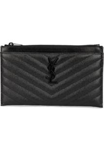 Saint Laurent Clutch De Couro Com Logo - Preto