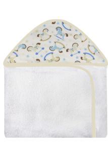 Toalha De Banho C/ Capuz Estampado Laura Baby Cavalinho Azul