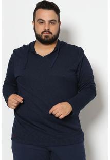 Camiseta Em Flamê Com Capuz - Azul Marinhorovitex