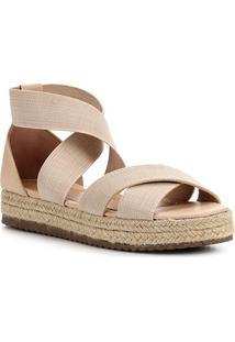 Sandália Shoestock Flatform Elástico Feminina - Feminino-Nude