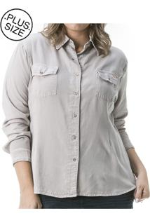 Camisa Jeans Plus Size Confidencial Extra Color Melissa Cinza - Tricae