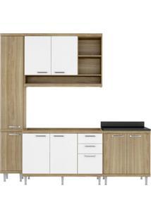 Cozinha Completa Com Balcão Sem Tampo E Paneleiro 4 Peças 8 Portas Sicília Multimóveis Argila/Branco