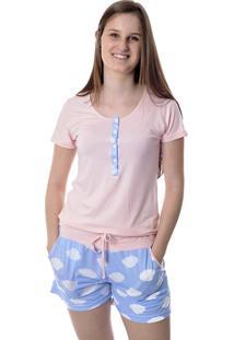 Pijama Feminino Curto Com Abertura Frontal Short Doll Nuvens Mania Pijamas