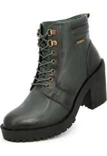 Bota Ankle Boot Salto Médio Sapatofranca Casual Fashion Com Cadarço Verde Escuro - Kanui
