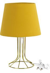 Abajur Torre Dome Amarelo Mostarda Com Aramado Dourado - Dourado - Dafiti