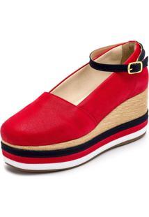 Tênis Anabela Mr Shoes Aberta Salto Médio Confortavel 170407 - Vermelho - Kanui