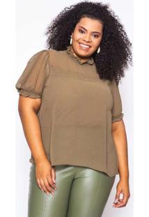 Blusa Almaria Plus Size Kayla Silves Chiffon Verde