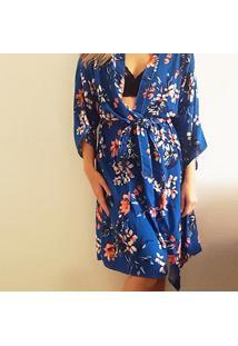 Robe Kimono Em Viscose Azul/Rosa M - Dica045 Dica De Lingerie