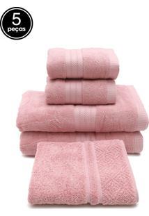 Jogo De Banho Gigante Naturalle Fio Penteado 5 Pçs Rosa
