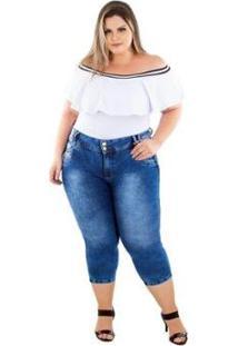 Calça Jeans Latitude Plus Size Cropped Deuseline Feminina - Feminino-Azul
